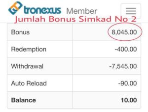 Tronexus testimoni pendapatan